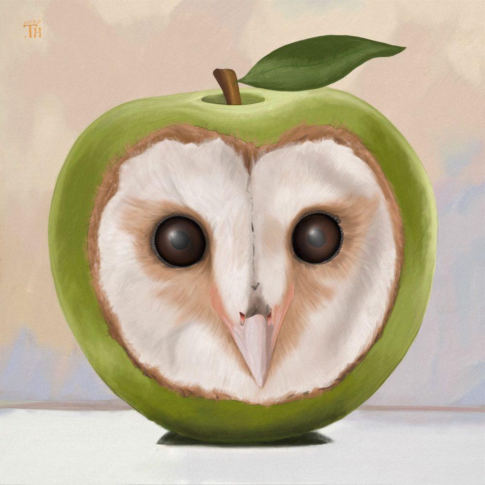 An owl apple - Digital Painting - Thibault Herlédan